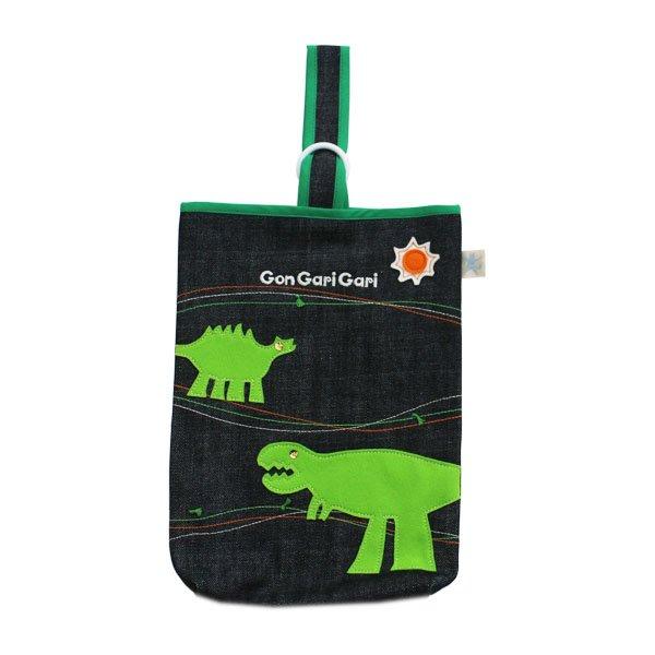 恐竜モチーフのシューズバッグ