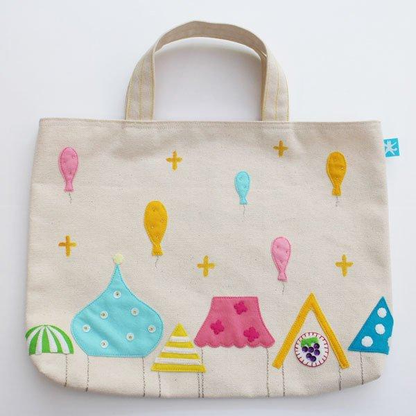 生成りの帆布のレッスンバッグ