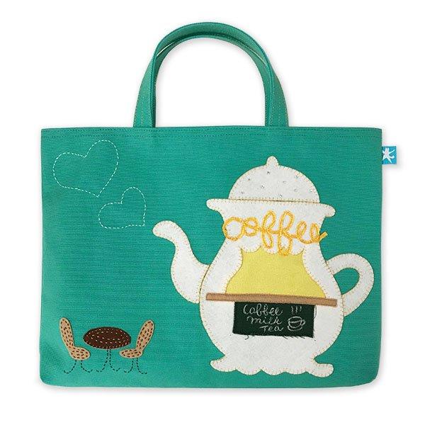ミントグリーンのレッスンバッグ「コーヒータイム」